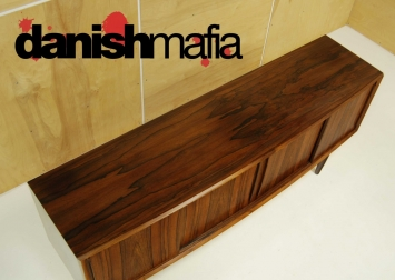 MID CENTURY DANISH MODERN BOW FRONT ROSEWOOD CREDENZA