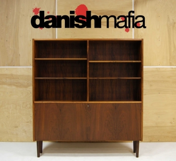 MID CENTURY DANISH MODERN ROSEWOOD BOOK SHELF DISPLAY CASE 5