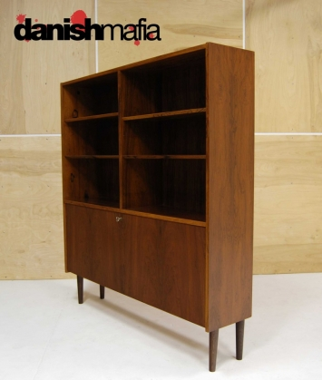 MID CENTURY DANISH MODERN ROSEWOOD BOOK SHELF DISPLAY CASE 6