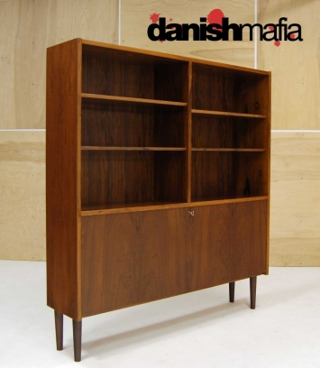 MID CENTURY DANISH MODERN ROSEWOOD BOOK SHELF DISPLAY CASE 7