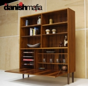 MID CENTURY DANISH MODERN ROSEWOOD WALL UNIT BOOK SHELF DISPLAY CASE EAMES
