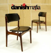 MID CENTURY DANISH MODERN ROSEWOOD ERIK BUCK DINING LOUNGE SIDE CHAIRS EAMES