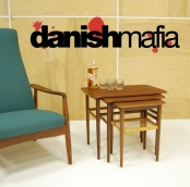 MID CENTURY DANISH MODERN TEAK NESTING SOFA SIDE END STACKING TABLES EAMES ERA